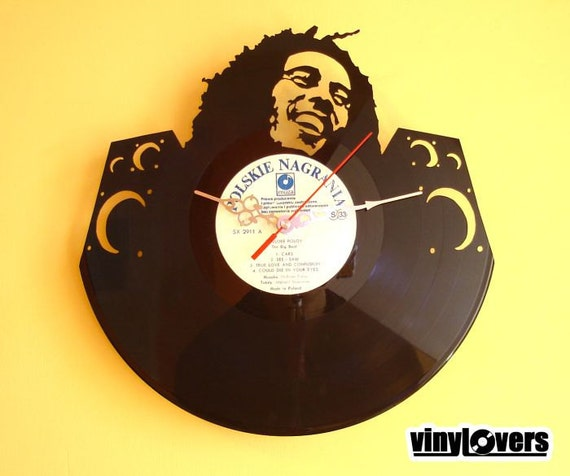 Bob Marley reggae ska rocksteady gift handmade unique wall clock from used vinyl record jamaica rasta music