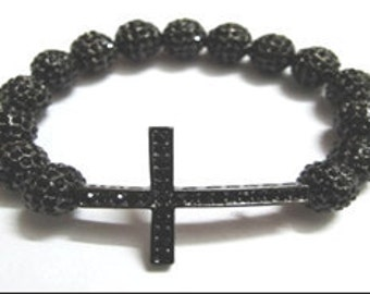 CLEARANCE- All Around Black Crystal Cross Bracelet