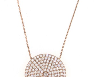 Oversized Pave Disc Necklace-Rose Gold
