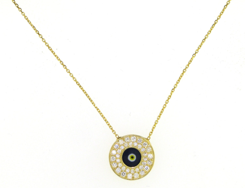 gold evil eye necklace with czs
