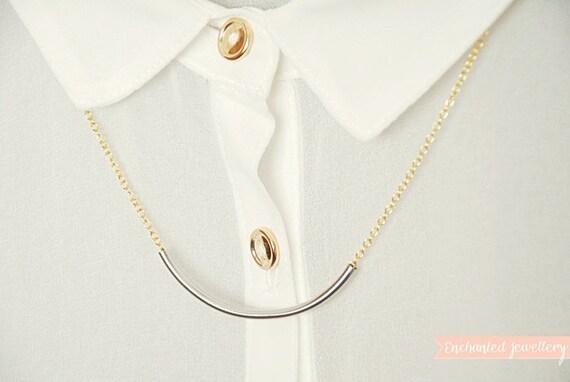 Silver curve bar minimal necklace