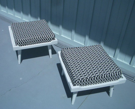 Fun and Playful pair of foot stools.  New paint, new cushions, new outdoor fabric.  Nice.