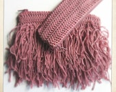 Isadora Duncan dusty rose crochet pouch & pencil case