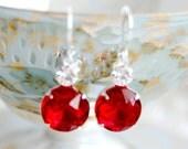 Vintage Ruby and Crystal Jewel Dangle Earrings