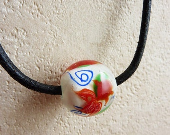 Glsss Pendant Goldfish swimming with leather necklace