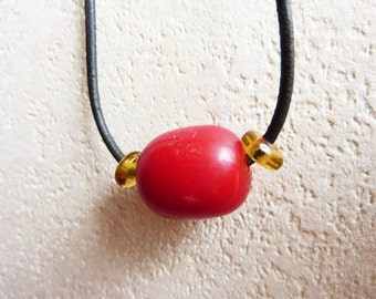 Asian Red Charm with leather necklace