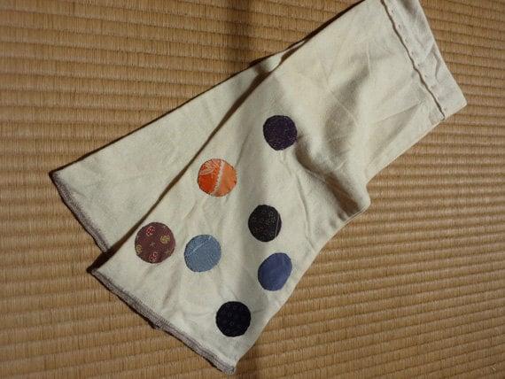 Wool scarf with kimono cloth appliques
