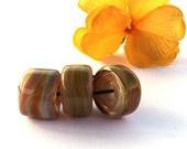 Caramel Rainbow Lampwork Beads (5mm hole)