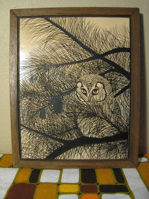 Vintage Mid Century Modern Woodland Owl Etching Wall Hanging - Carved Wood Owl - Enchanted Forest Decor