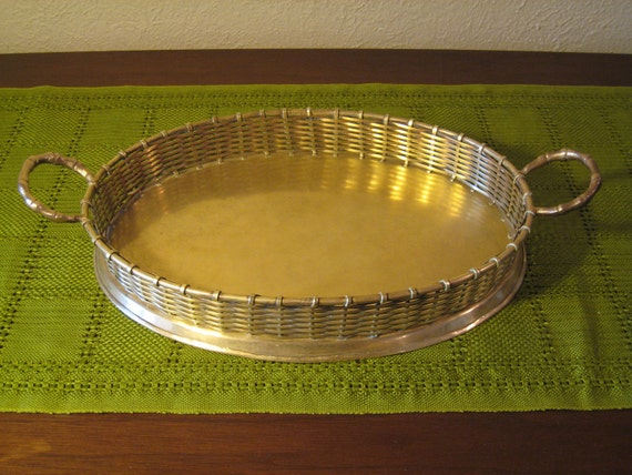 Vintage Hollywood Regency Woven Brass Faux Bamboo Handled Gallery Tray - Oval Shape