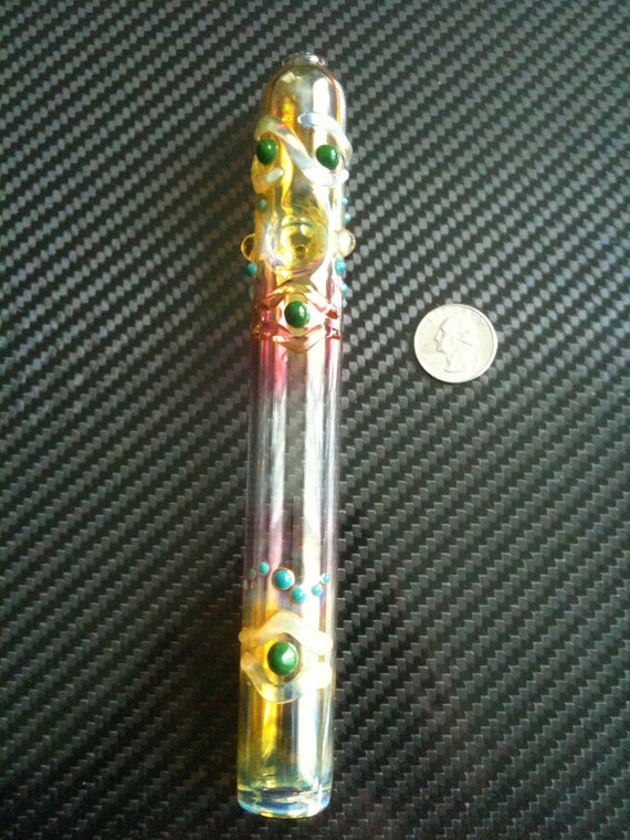 Glass pipe steamroller. Green with aqua highlights.  Color changing.  A real blast.