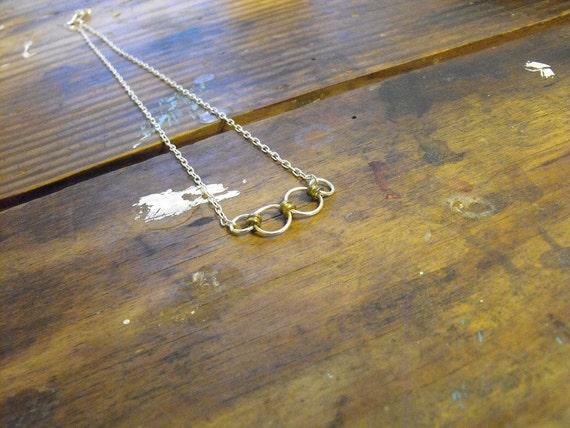 FREE SHIP Sterling Silver -O- Guitar String Necklace with Gold Guitar String end beads