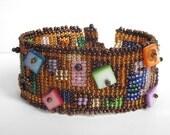 SALE -15% OFF bead woven bracelet, multicolor seed bead cuff, off loom bracelet, cuff bracelet, seed bead jewelry, beaded bracelet