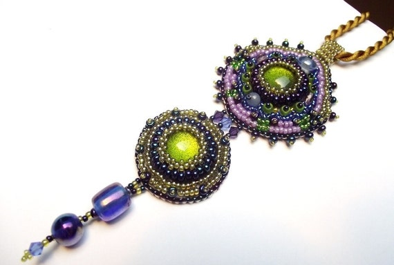 Bead embroidery necklace, bead embroidery pendant, bead woven necklace, seed bead necklace