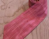 Beautiful red patterned silk necktie with tiny rhinestone, handmade from upcycled kimono fabric