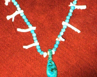 Turquoise and pink coral necklace