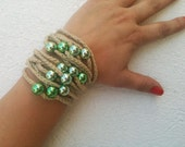 Hand-crochet  Rope Bracelet with green beads, beach,boho, lolita,wristband,wriststrap