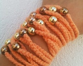 Hand-crochet  Rope Bracelet with orange beads, beach,boho, lolita,wristband,wriststrap