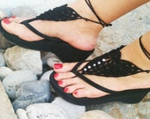 Gothic black   Barefoot Sandals, Nude shoes, Foot jewelry, Wedding, Victorian Lace, Sexy, Lolita, Yoga, Anklet