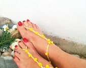Yellow  wooden beads macrame Foot jewelry Anklet, Nude shoes, Foot jewelry, Wedding, Victorian Lace, Sexy, Lolita, Yoga, Anklet