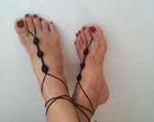 Gothic black Barefoot Sandals with beads, Nude shoes, Foot jewelry, Wedding, Victorian Lace, Sexy, Lolita, Yoga, Anklet