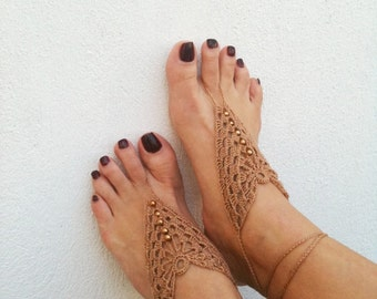 Brown Barefoot Sandals, Nude shoes, Foot jewelry, Wedding, Victorian Lace, Sexy, Lolita, Yoga, Anklet