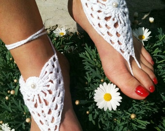 Bridal Wedding white Barefoot Sandals, Nude shoes, Foot jewelry, Bridesmaid, Victorian Lace, Sexy, Lolita, Yoga, Anklet