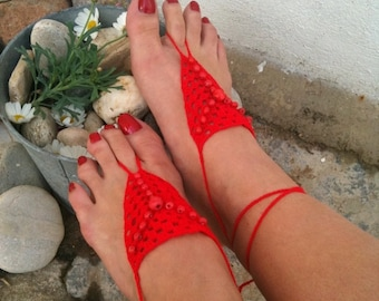Red Barefoot Sandals with wooden red bead, Nude shoes, Foot jewelry, Wedding, Victorian Lace, Sexy, Lolita, Yoga, Anklet,gypsy sandals