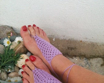 Lilac Barefoot Sandals, Nude shoes, Foot jewelry, Wedding, Victorian Lace, Sexy, Lolita, Yoga, Anklet