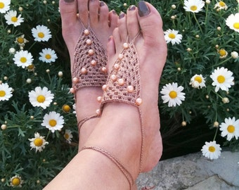 Brown Barefoot Sandals with beads, Nude shoes, Foot jewelry, Wedding, Victorian Lace, Sexy, Lolita, Yoga, Anklet