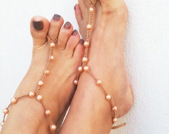 Barefoot sandles Soft brown beads macrame Foot jewelry Anklet, Foot jewelry, Wedding, Victorian Lace, Sexy, Lolita, Yoga, Anklet