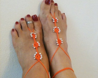 Orange Barefoot Sandals with silvery bead, Nude shoes, Foot jewelry, Wedding, Victorian Lace, Sexy, Lolita, Yoga, Anklet,gypsy sandals