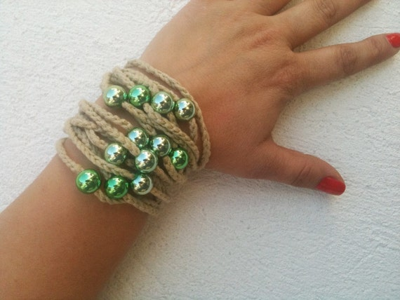 Hand-crochet  Rope Bracelet with green beads, beach,boho, lolita,wristband,wriststrap