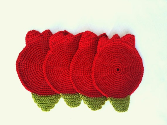 ottoman red tulip Coasters . Beverage Drink Pastel Peridot Lime Leaves Vegan Decor Crochet Fruit Collection - Set of 4