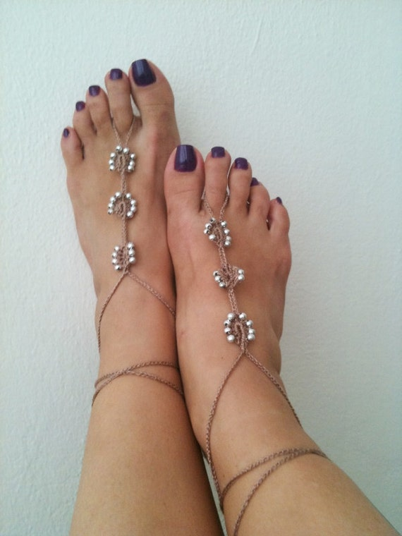 Brown   Barefoot Sandals with silvery   bead, Nude shoes, Foot jewelry, Wedding, Victorian Lace, Sexy, Lolita, Yoga, Anklet,gypsy sandals