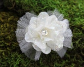 Glittered White Larkspur Blossom with Tulle- Handmade Floral Headpiece