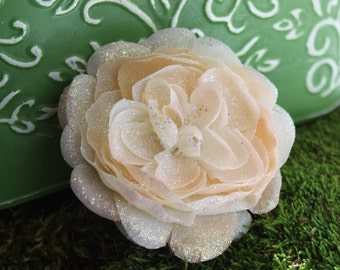 Glittered Cream Ranunculus Alligator Hair Clip- Handmade Floral Headpiece
