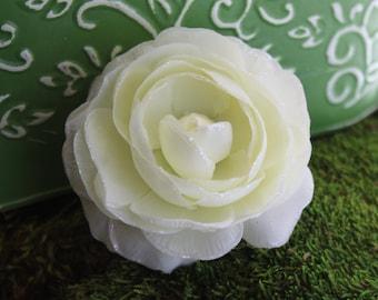Glittered Large White Ranunculus Alligator Hair Clip- Handmade Floral Headpiece
