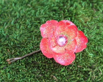 Glittered Coral Blossom Bobby Pin with Pink Crystal Center- Handmade Floral Headpiece