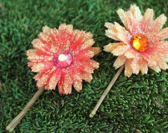 Two Orange Mini Daisy Bobby Pins- Handmade Floral Headpiece