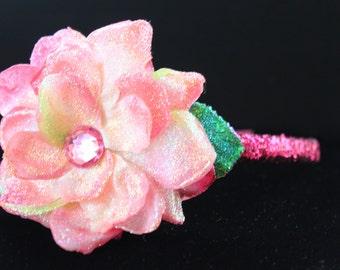 Glittered Open Pink Rose on Fuchsia Sparkle Headband- Handmade Floral Headpiece