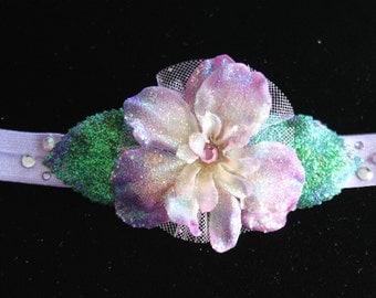Glittered Lilac Delphinium Flower & Leaves on Light Purple Elastic Baby Headband- Handmade Floral Heirloom Headpiece