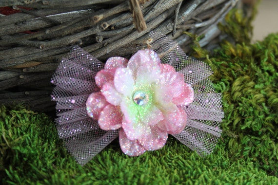 Glittered Light Pink Larkspur Blossom with Glittered Tulle- Handmade Floral Headpiece