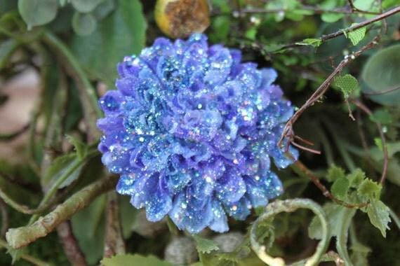 Glittered Purple Pompom Mum Alligator Hair Clip- Handmade Floral Headpiece