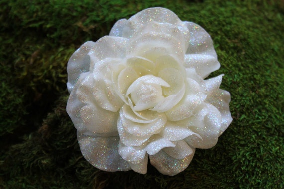 Glittered Large White Gardenia Alligator Hair Clip- Handmade Floral Headpiece