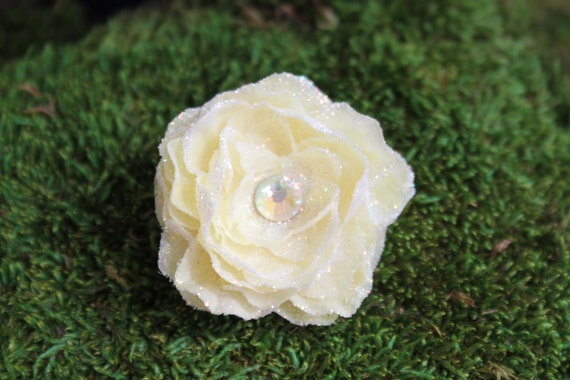 Glittered Cream Open Rose Alligator Hair Clip- Handmade Floral Headpiece