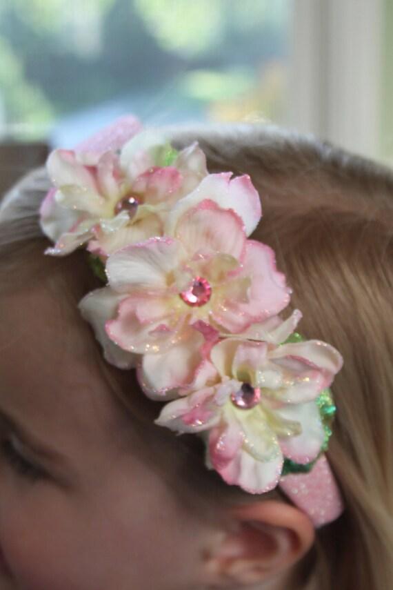 Pink Sparkle Headband w/ Glittered Pink & Cream Delphinium- Handmade Floral Headpiece