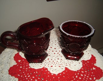 Vintage Avon Cape Cod Ruby Red Creamer & Sugar Perfect For The Holidays
