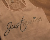 Just Married Lace Back Tank Top