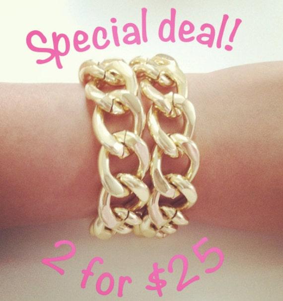 Double Large Chunky Gold Bracelets